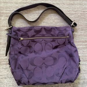 Genuine Coach Purple Canvas Hobo Bag
